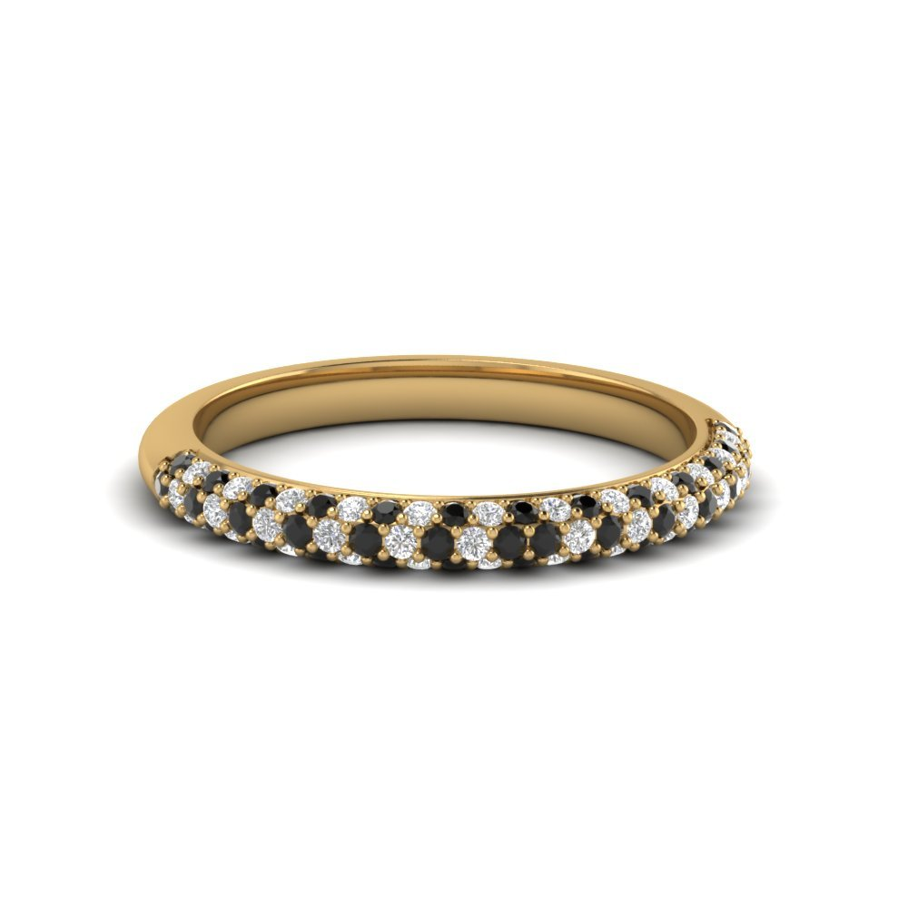 Trio Micropave Womens Wedding Band In 18K Yellow Gold With Black Diamond In 18K Yellow Gold