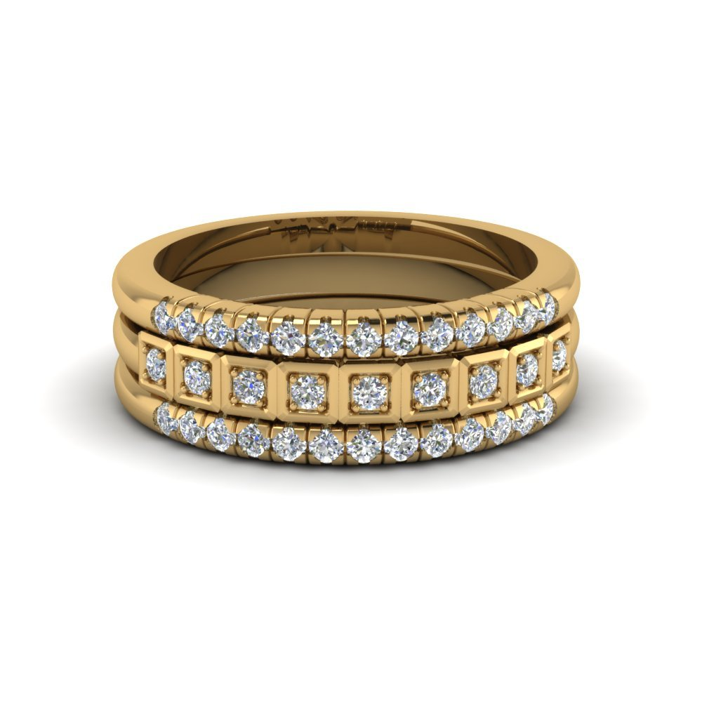 Trio Pave Diamond Stack Band