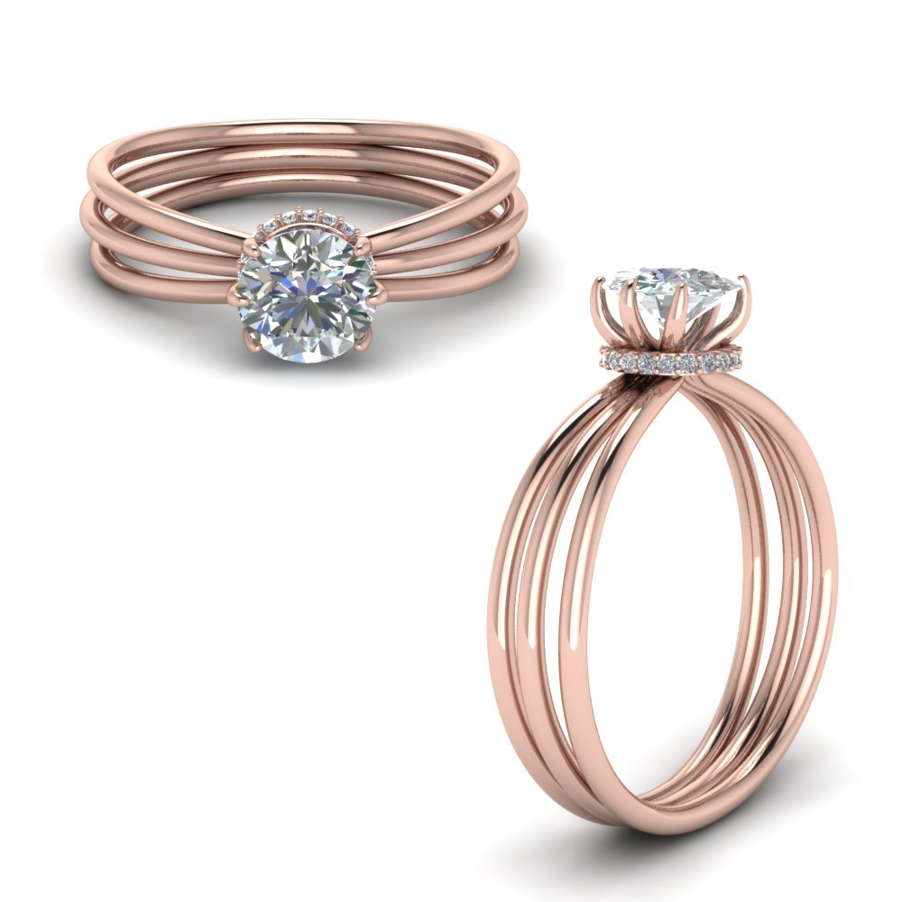 Trio Split Shank Diamond Ring Gift In 14K Rose Gold