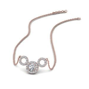 Triple Circle Diamond Pendant for Women