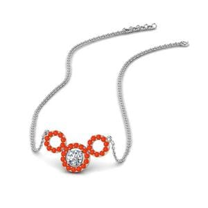 Orange Topaz Circle Pendant