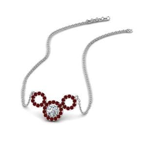 Triple Circle Diamond Pendant With Ruby In 18K White Gold