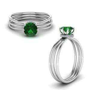 Triple Split Shank Emerald Ring