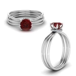 Triple Split Shank Ruby Engagement Ring In 14K White Gold