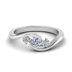 Twist 3 Stone Engagement Ring In 14K White Gold