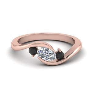 Black Diamond Three Stone Ring