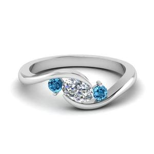 Twist 3 Stone Blue Topaz Ring