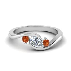 Orange Sapphire Twist Ring