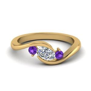 Purple Topaz 3 Stone Ring