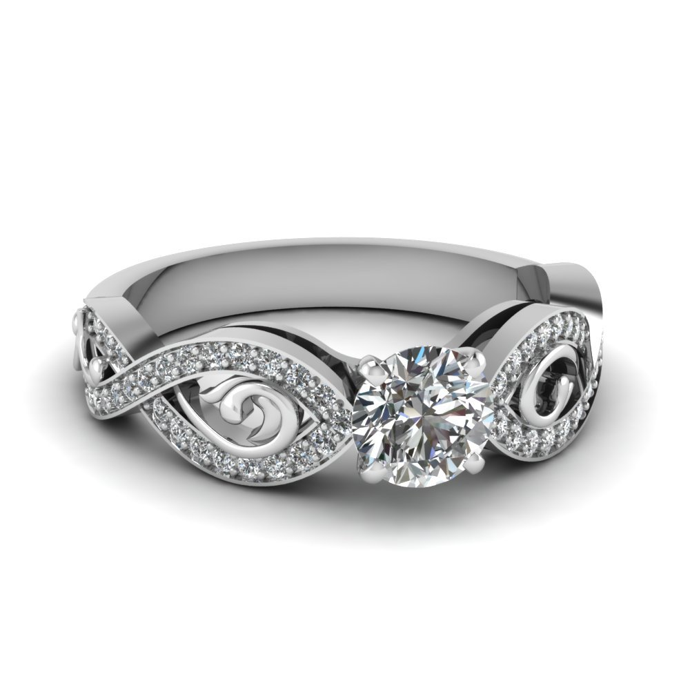 Twist Design Round Diamond Ring