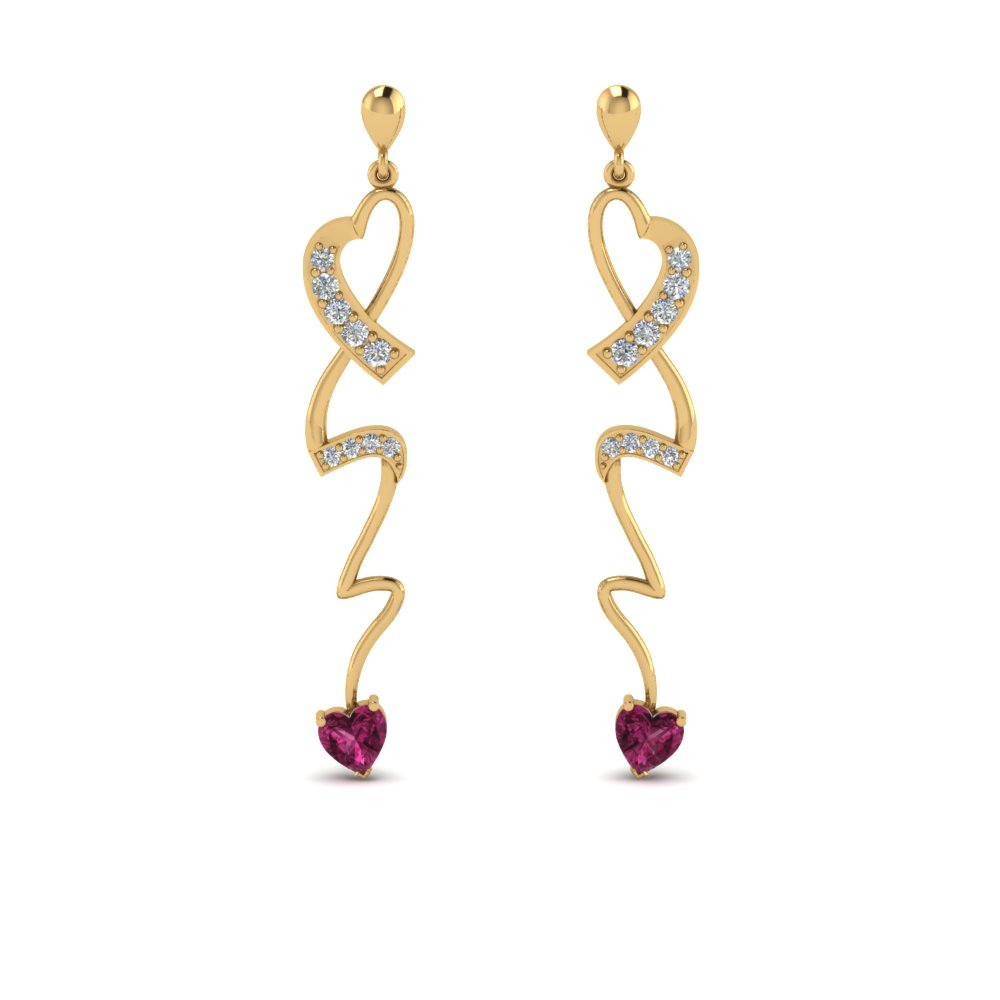Pink Sapphire Yellow Gold Earring