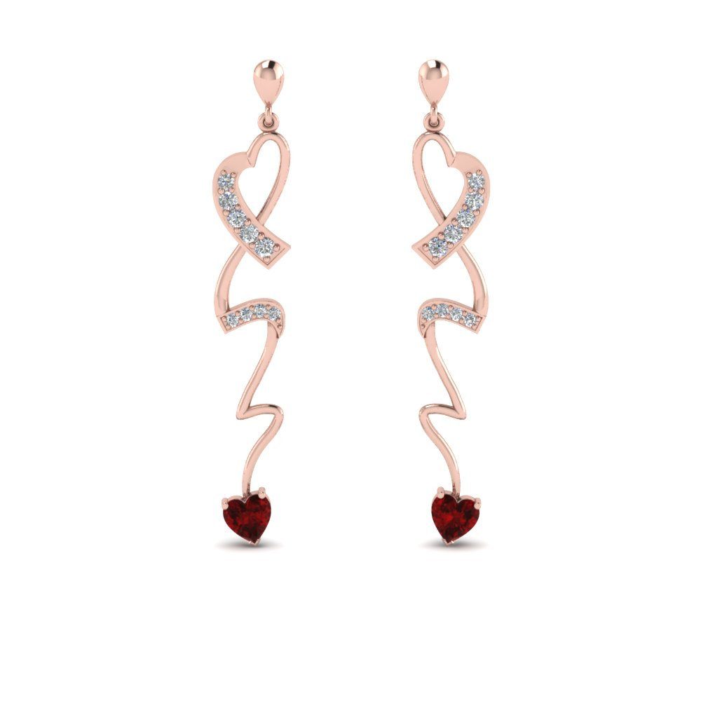 Rose Gold Ruby Drop Earring