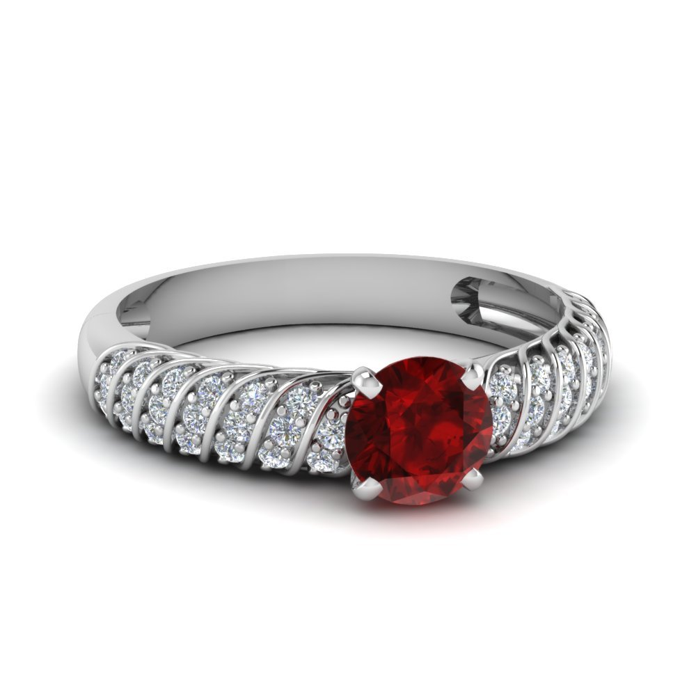 Twist Rope Ring With Ruby Gemstone