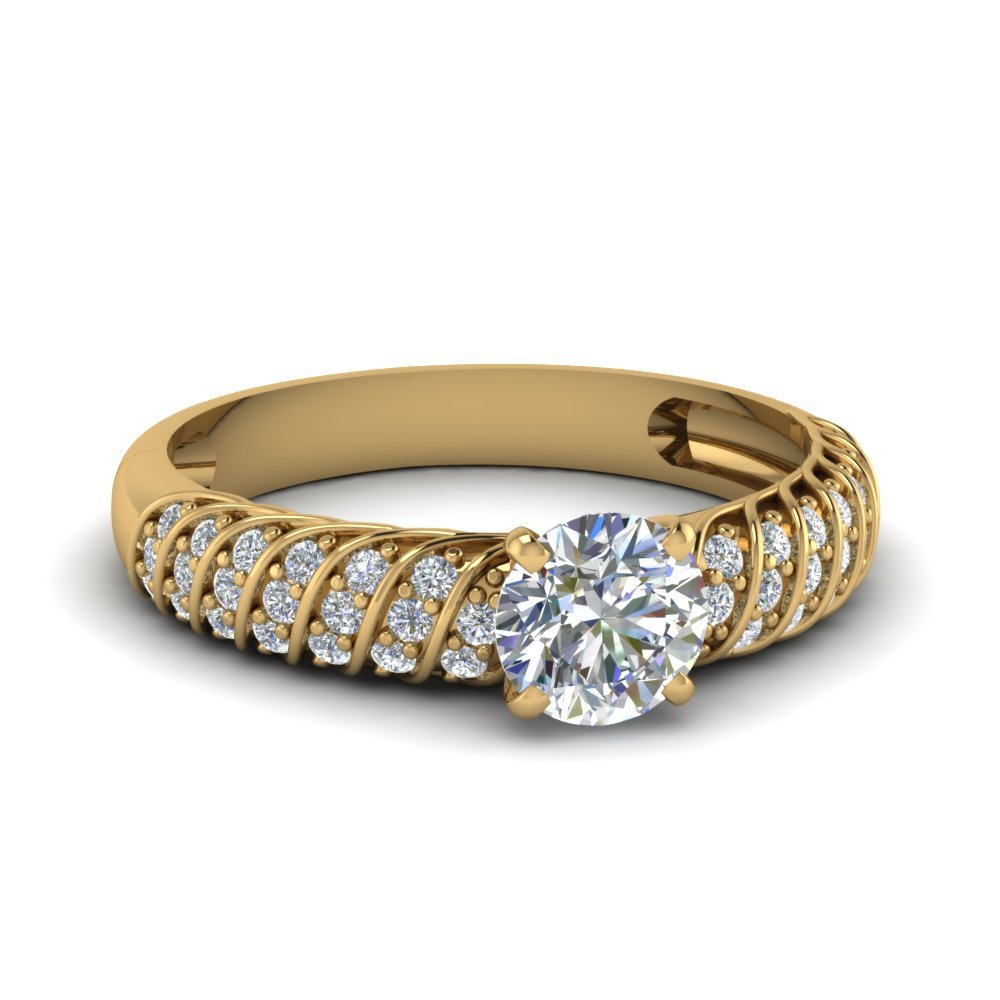 Twist Rope Round Diamond Ring