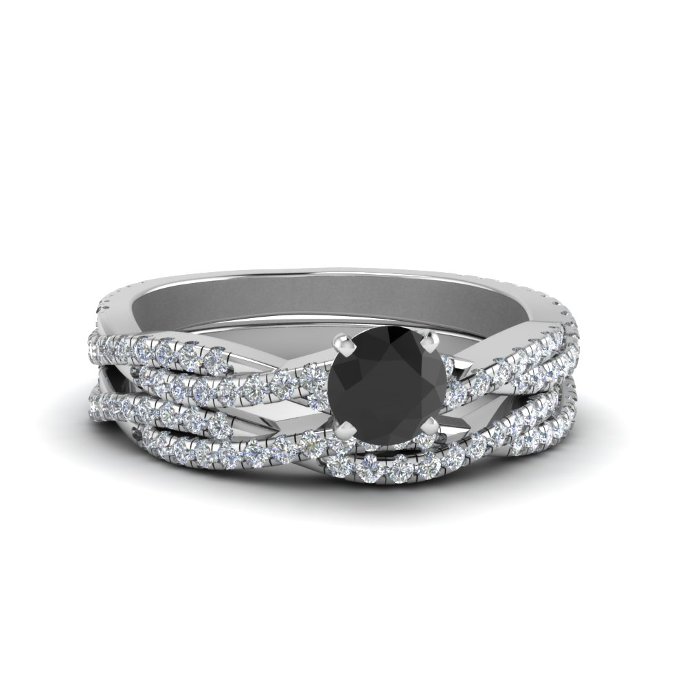 Twisted Black Diamond Bridal Set