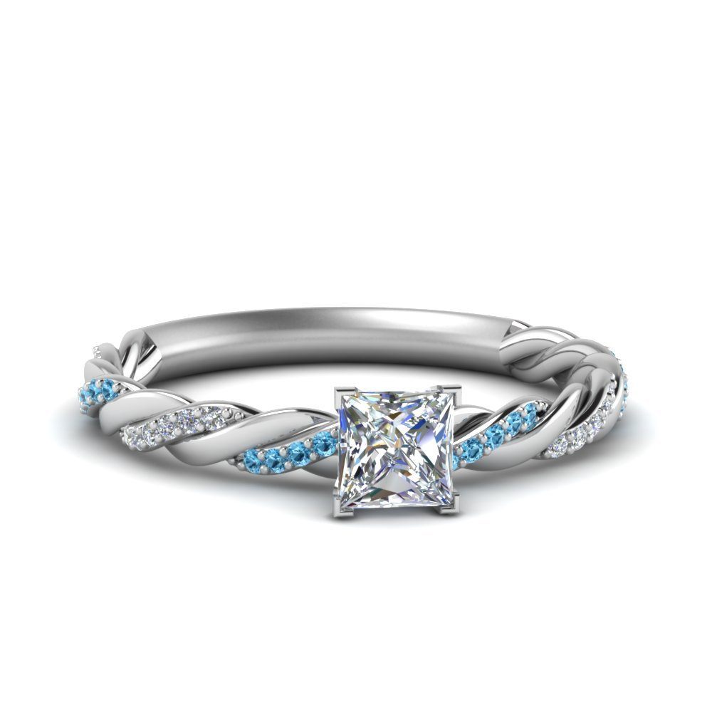 Twisted Delicate Princess Cut Diamond Engagement Ring With Blue Topaz In 18K White Gold