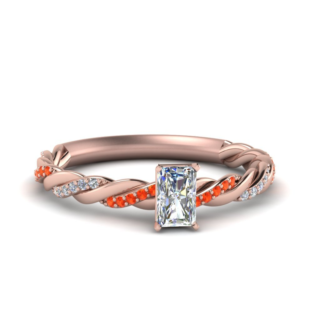 Twisted Delicate Radiant Cut Diamond Engagement Ring With Orange Topaz In 14K Rose Gold