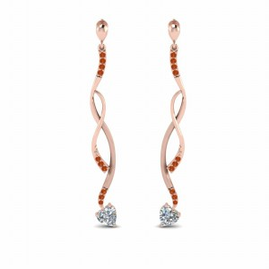 Twisted Drop Heart Diamond Earring