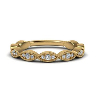 Twisted Milgrain Diamond Band In 14K Yellow Gold