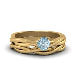 Aquamarine Twisted Solitaire Ring Set