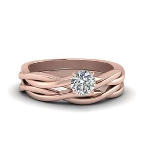 Twisted Solitaire Diamond Wedding Set In 14K Rose Gold