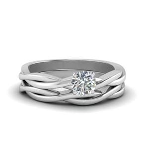 Solitaire 14K White Gold Wedding Set