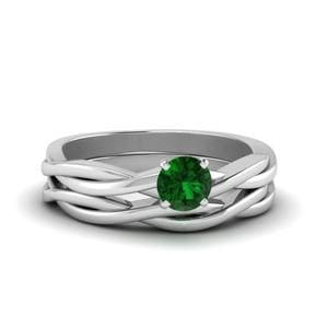 Platinum Emerald Twisted Wedding Set