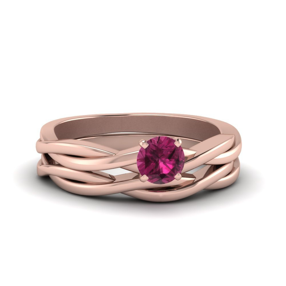 Twisted Solitaire Pink Sapphire Wedding Set