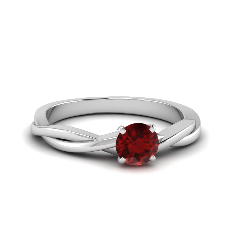 Twisted Solitaire Ruby Gemstone Ring