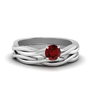 Twisted Solitaire Ruby Wedding Set In 14K White Gold