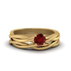 Ruby Twist Pattern Gemstone Ring Set