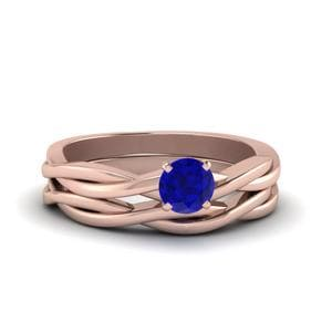 Round Shaped Sapphire Ring Set