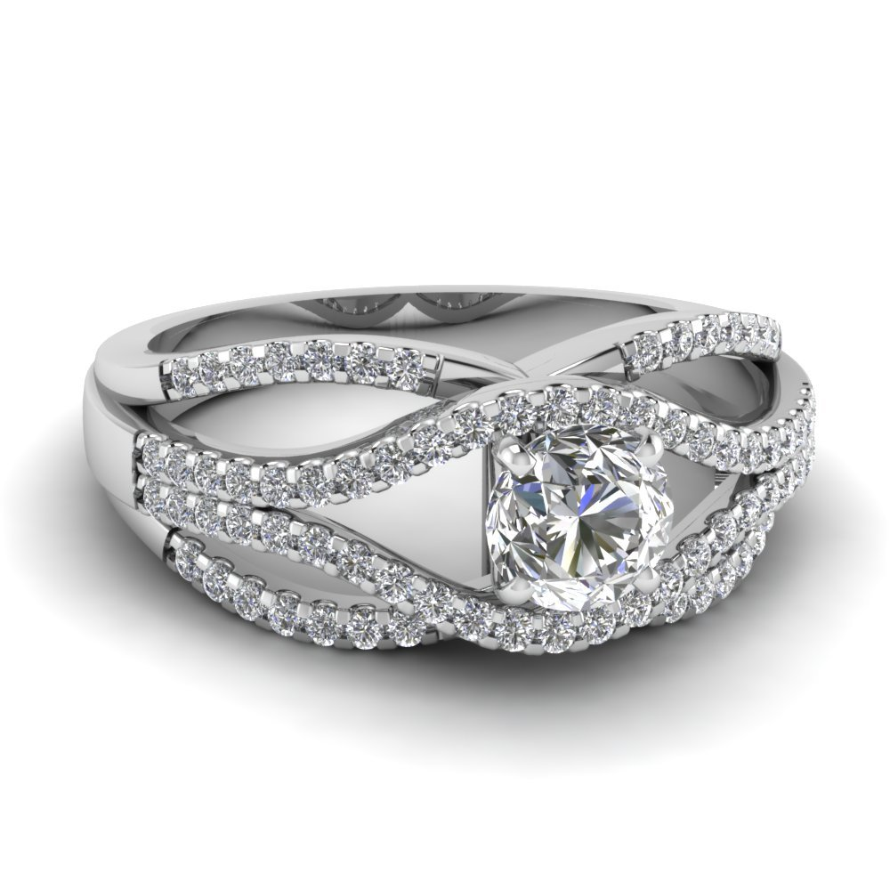 Split Criss Cross Diamond Infinity Ring