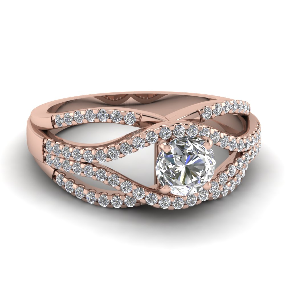 Twisted Split Criss Cross Diamond Ring