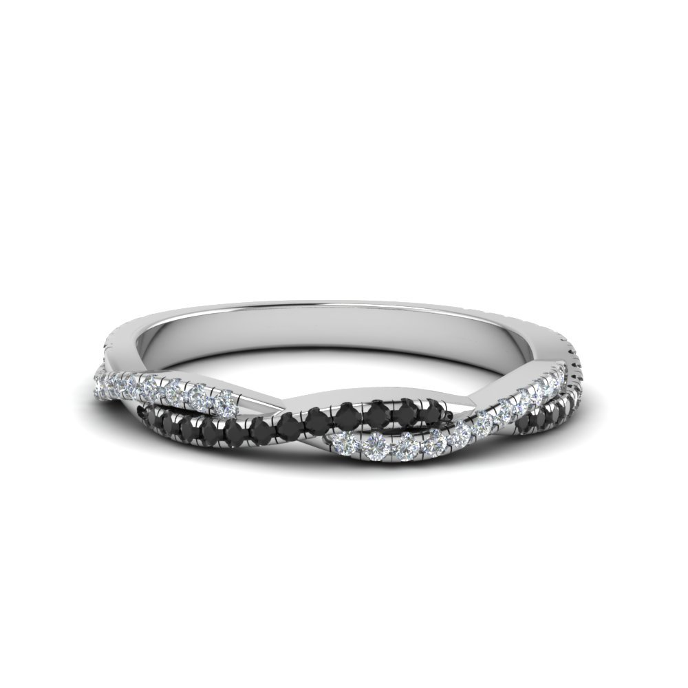 Twisted Vine Delicate Band With Black Diamond In 18K White Gold