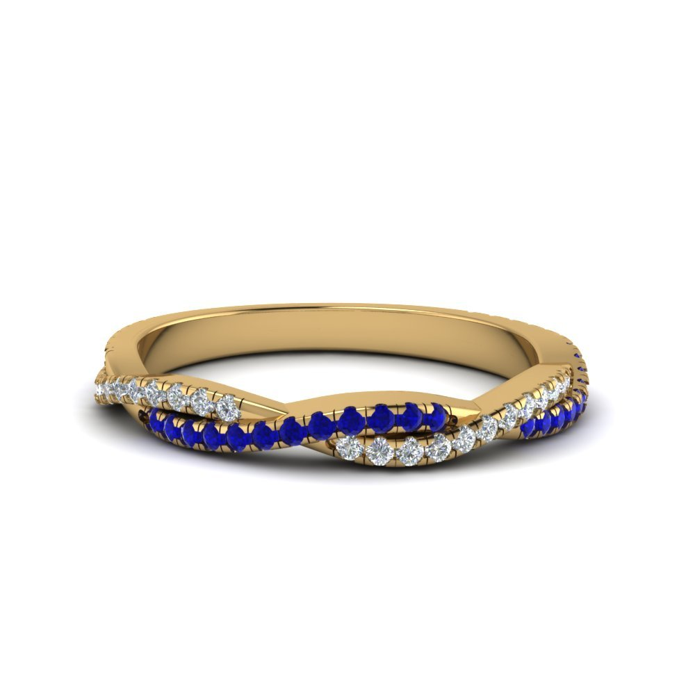 Twisted Vine Delicate Diamond Band With Blue Sapphire In 14K Yellow Gold