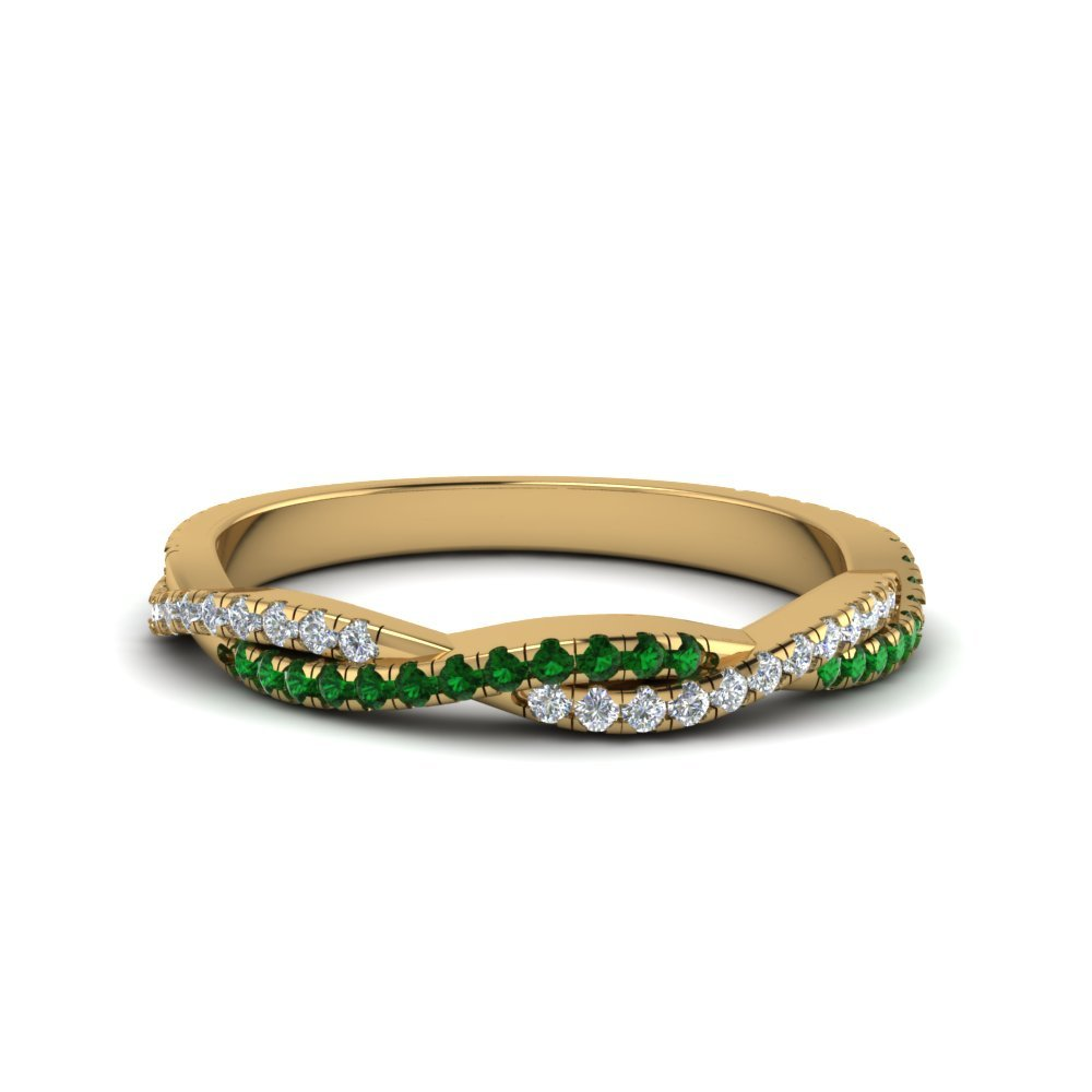 Twisted Vine Delicate Diamond Band With Emerald In 18K Yellow Gold