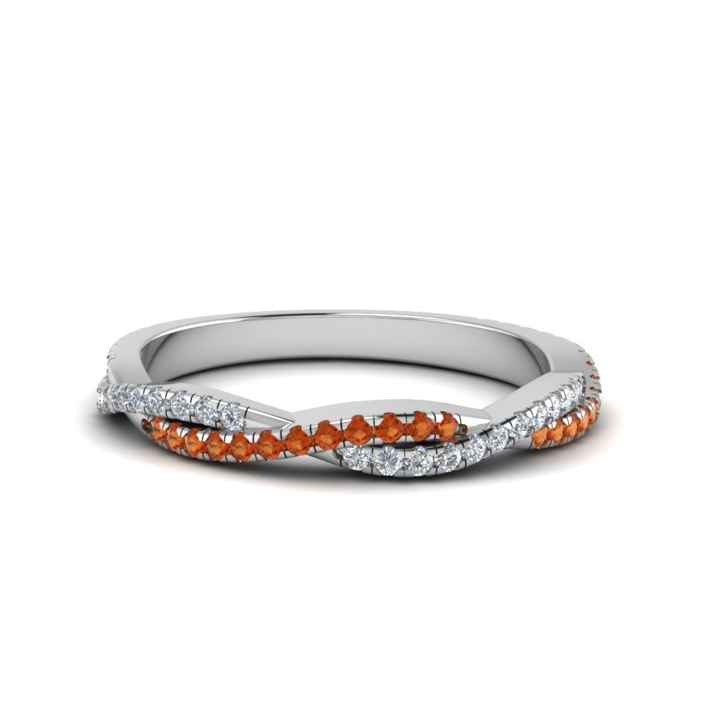 Twisted Vine Delicate Diamond Band With Orange Sapphire In 14K White Gold