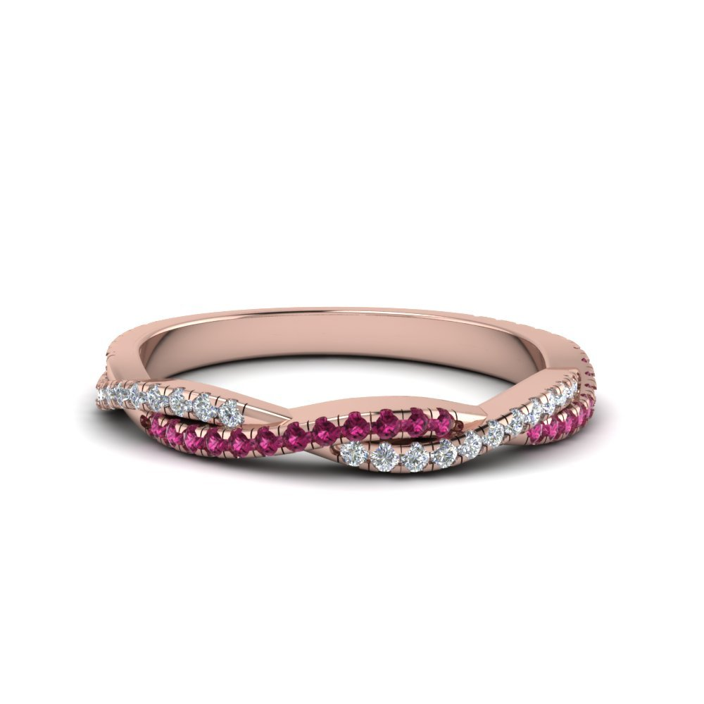 Twisted Vine Delicate Diamond Band With Pink Sapphire In 14K Rose Gold