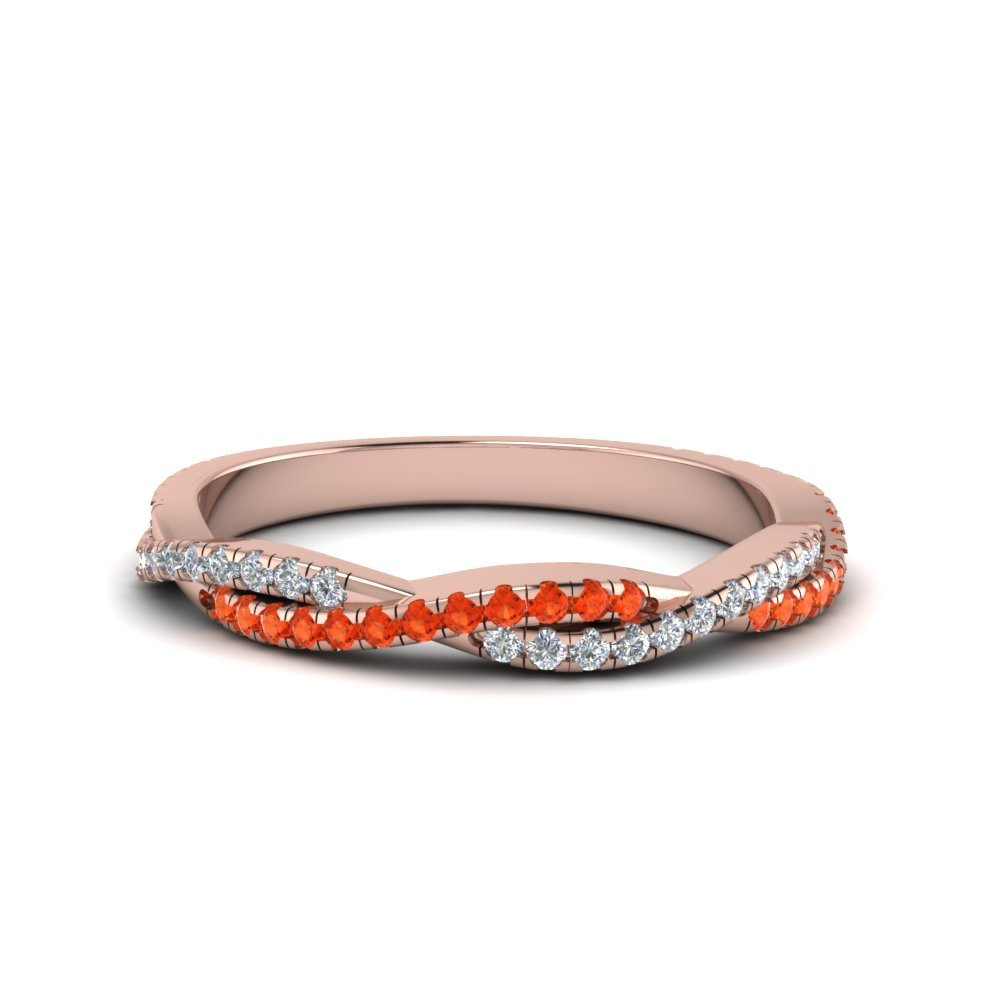 Twisted Vine Delicate Diamond Band With Poppy Topaz In 18K Rose Gold
