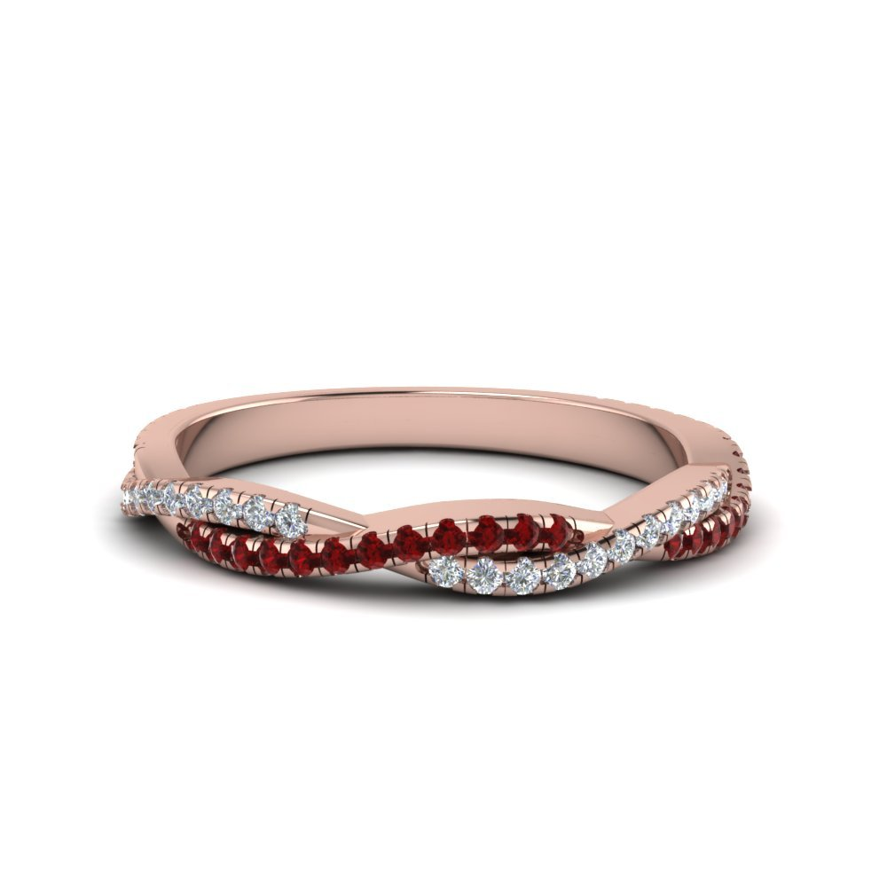 Twisted Vine Delicate Diamond Band With Ruby In 18K Rose Gold