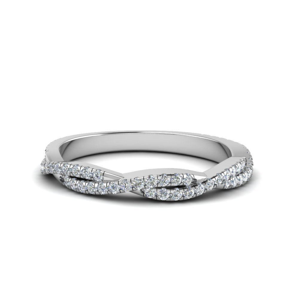 Twisted Vine Diamond Band In 18K White Gold