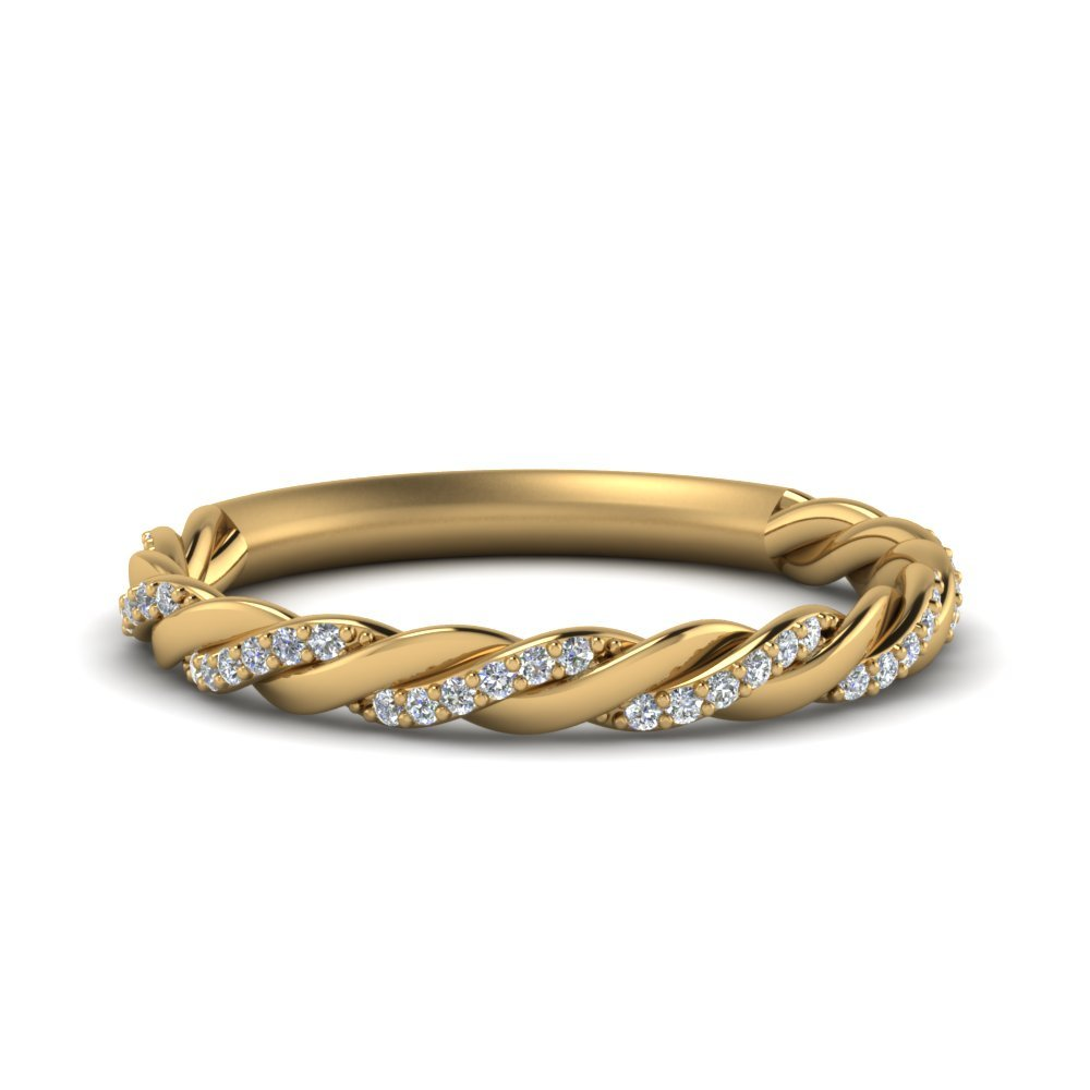 Twisted Vine Diamond Wedding Band In 14K Yellow Gold