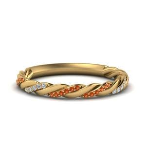 Orange Sapphire Twisted Band