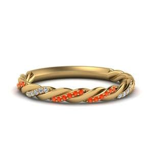 Braided Orange Topaz Wedding Band