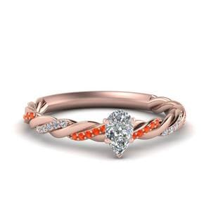 Pear Diamond Twisted Ring