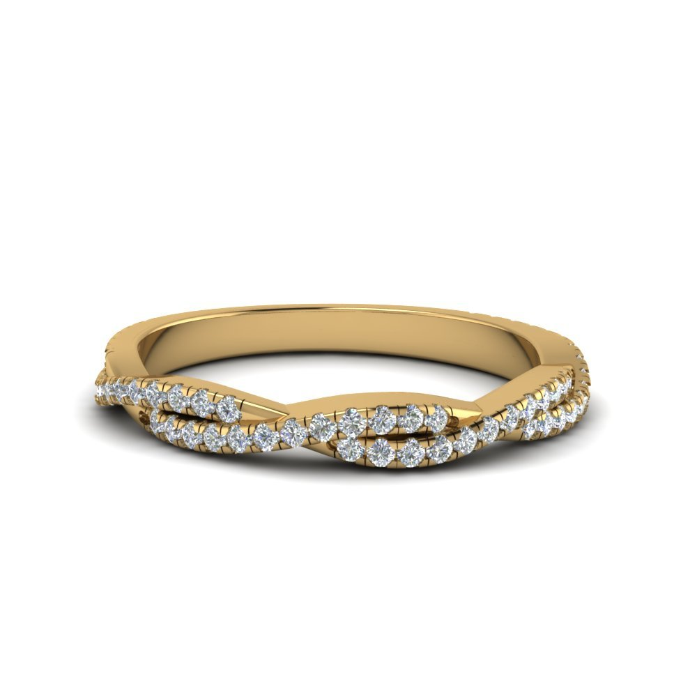 Twisted Wedding Band Gift For Her In 14K Yellow Gold