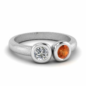 Bezel Set Orange Sapphire Ring