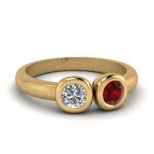 Inexpensive 2 Stone Bezel Set Ruby Ring