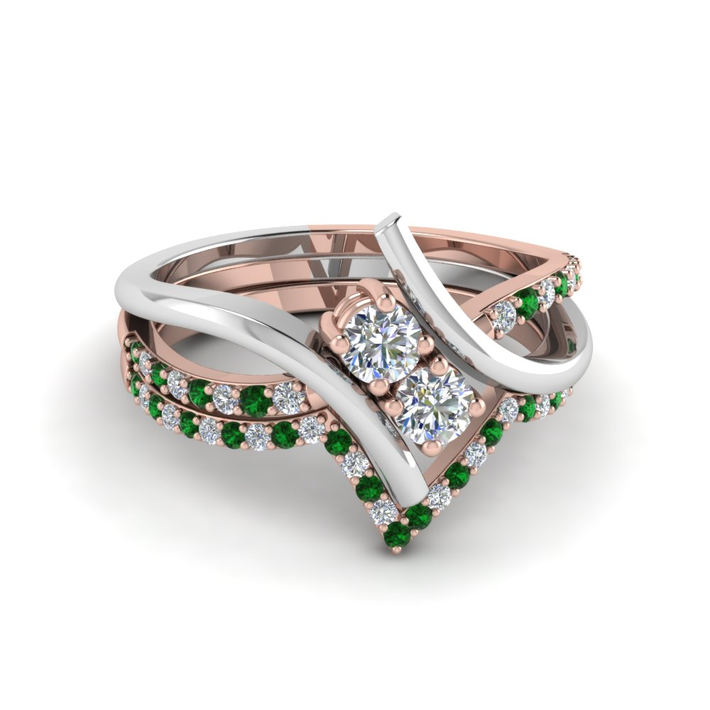 Two Tone Emerald Bridal Ring Set